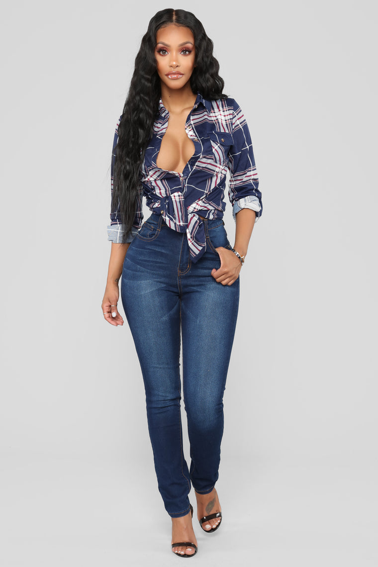 Lounge Lover Button Down Plaid Top - Navy/Combo