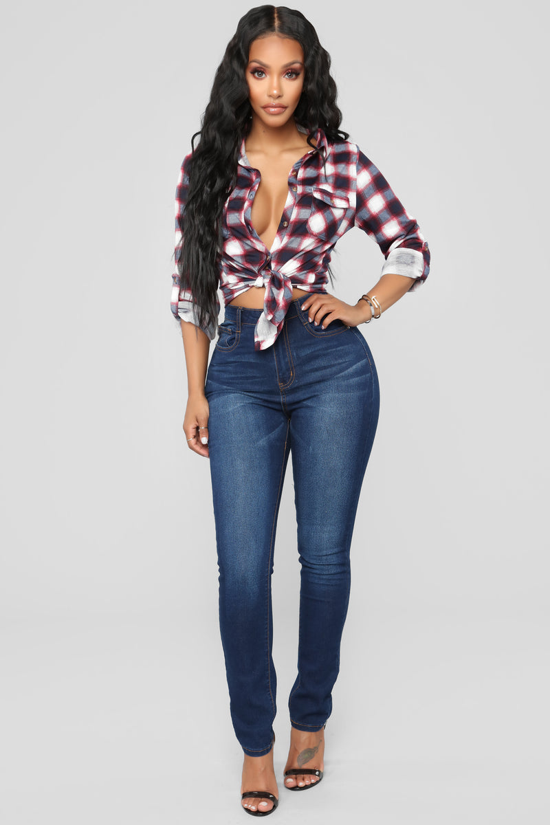 Soul Mate Front Pocket Plaid Top - Blue Combo