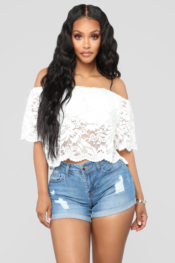 41adab6d189f0 Here For Lace Off Shoulder Top - OffWhite