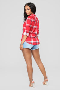 Lounge Lover Red Plaid Top - Red/Ivory