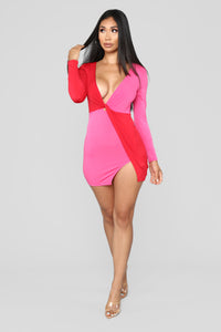 Opposites Always Attract Dress - Fuchsia/Red