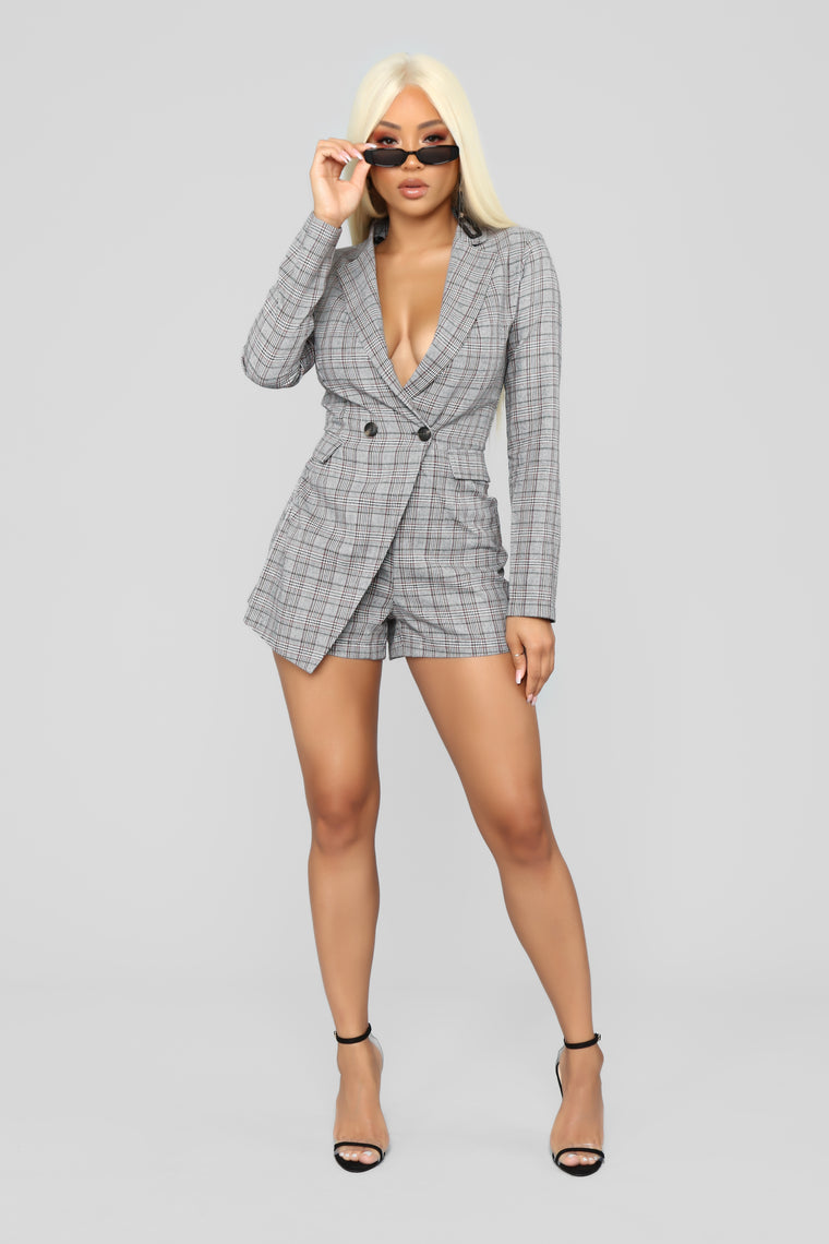 Long Hours Blazer Romper - Black/Combo