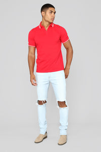 Wilson Short Sleeve Polo - Red Angle 2