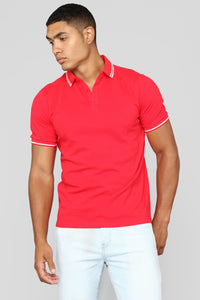 Wilson Short Sleeve Polo - Red Angle 1