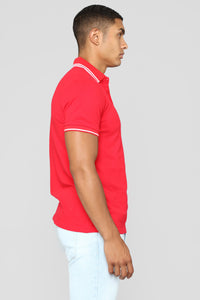 Wilson Short Sleeve Polo - Red Angle 3