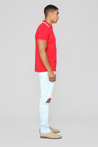 Wilson Short Sleeve Polo - Red Angle 4
