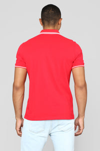 Wilson Short Sleeve Polo - Red Angle 5