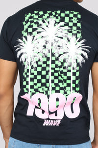 1990 Palm Tree Short Sleeve Tee - Black