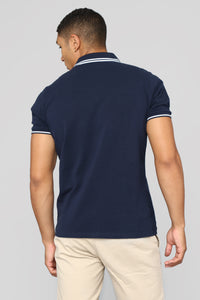 Wilson Short Sleeve Polo - Navy Angle 5