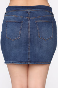 Flip It Real Good Denim Skirt - Medium Blue Wash
