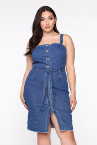 Can't Even Book Me Denim Midi Dress - Medium Wash