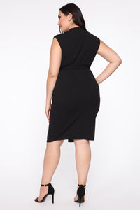 Stay On My Own Lane Dress - Black