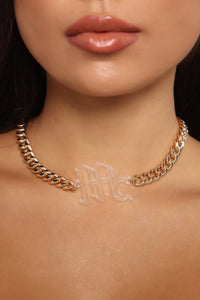 Just Your Type 'M' Initial Necklace - Gold/Clear