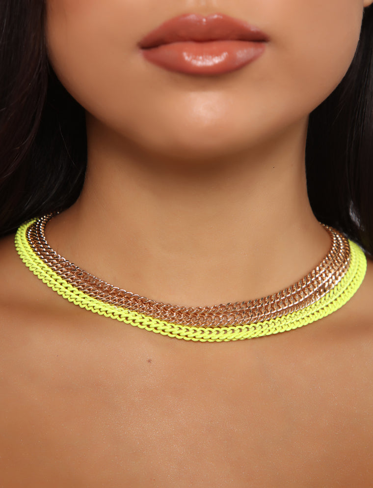 Coated With Love Necklace - Yellow