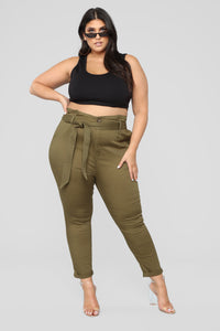 Here's The News High Rise Pants - Green Angle 7