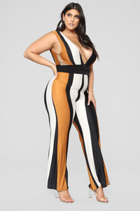 Switch It Up Multi Stripe Jumpsuit - Rust