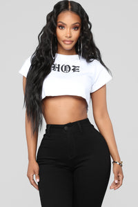 Hoe Crop Top - White/Black Angle 1