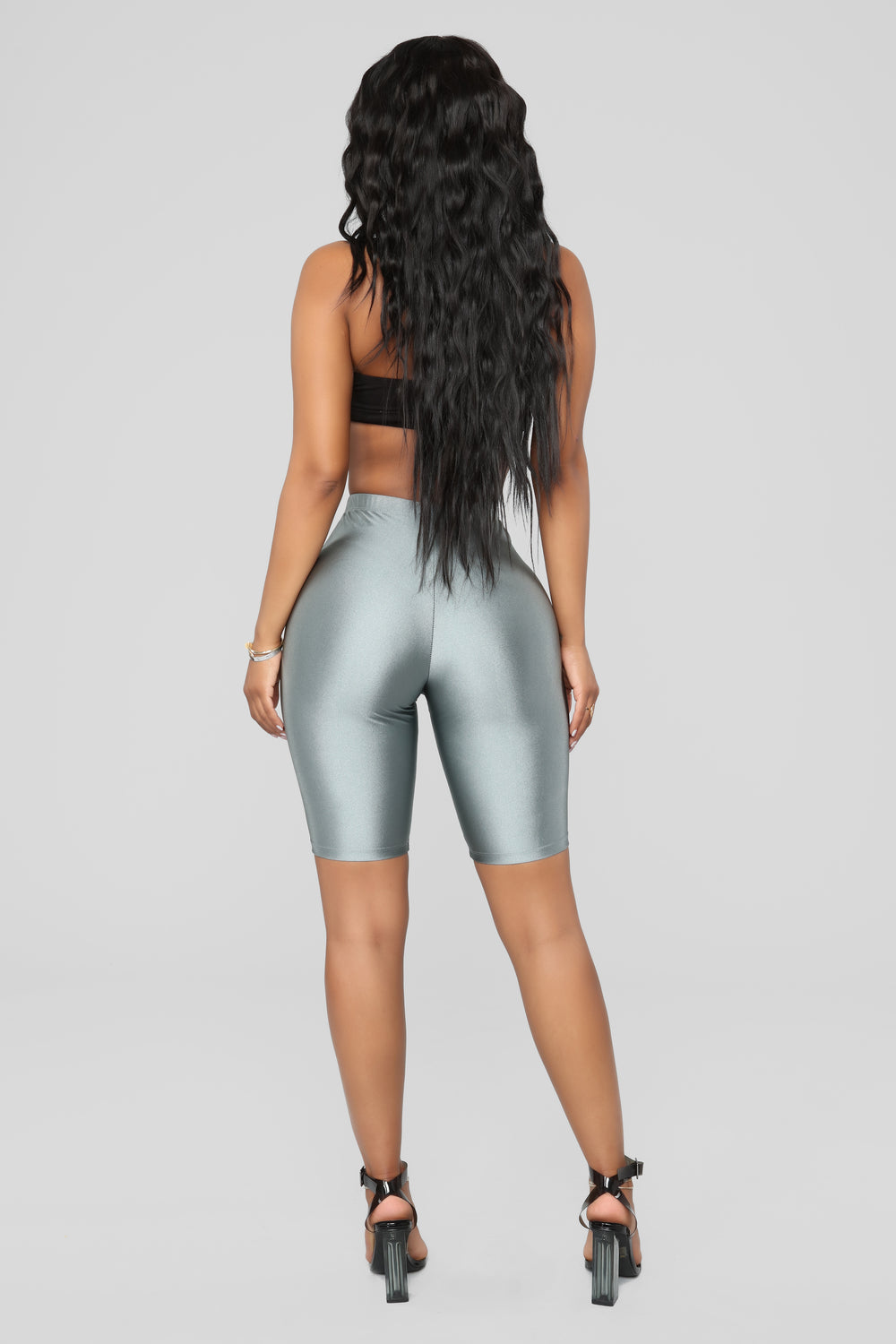 Curves For Days Biker Shorts - Silver