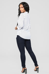 Lounge Lover Collared Stripe Top - White/Black
