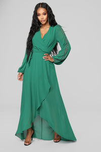 Soul Search High Low Dress - Hunter Green Angle 1