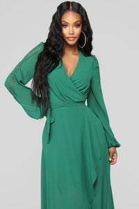 Soul Search High Low Dress - Hunter Green Angle 2