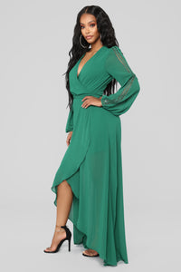 Soul Search High Low Dress - Hunter Green Angle 3