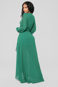 Soul Search High Low Dress - Hunter Green