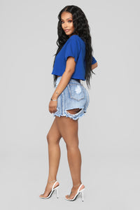 Just Cut It Denim Skirt - Blue