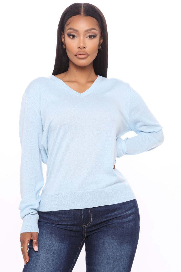 Everyday Babe V Neck Sweater - Light Blue
