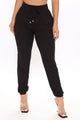 Down On Love Ribbed Jogger - Black