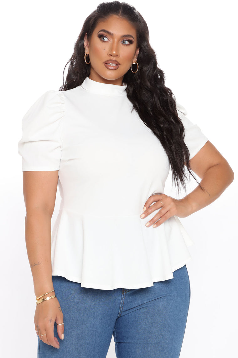 Just Roll With It Short Sleeve Peplum Top - White