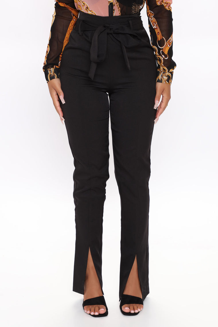 Oh She A Business Woman Slit Trouser - Black