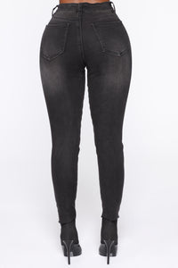 Do It Again Distressed Skinny Jeans - Black