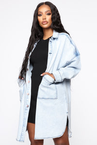 Ex Boyfriend Oversized Denim Jacket - Acid Wash Angle 1