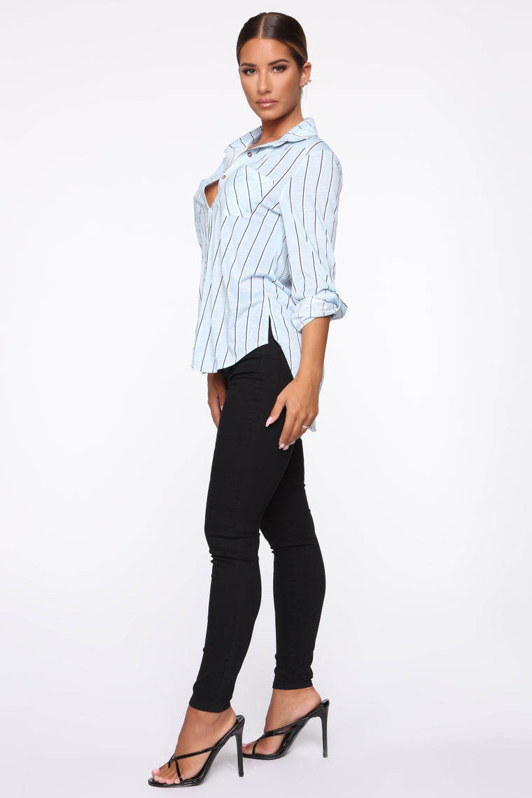 Gotta Do It Button Down Top - Blue/combo