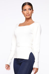 I'm Your Lady Belted Sweater - Ivory
