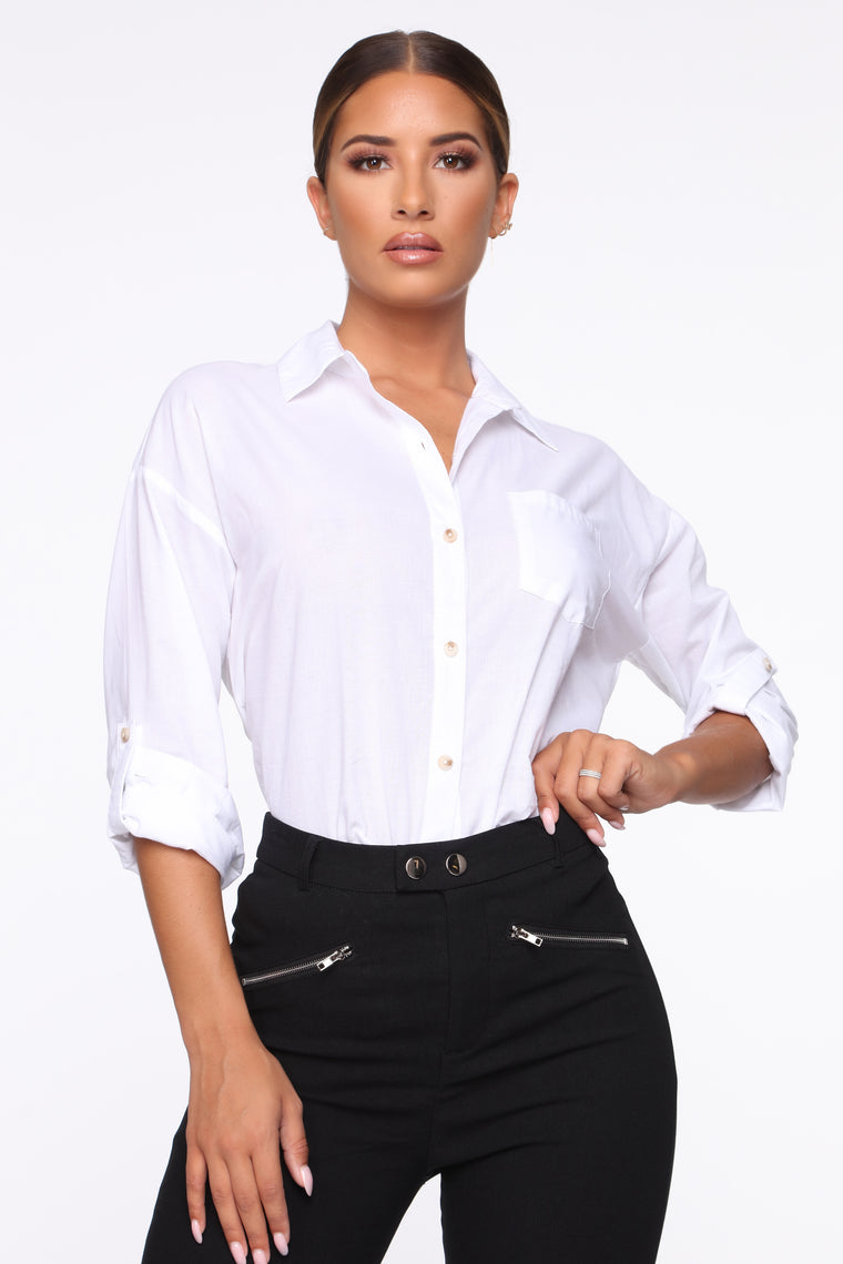 Getting Things Done Shirt   White by Fashion Nova