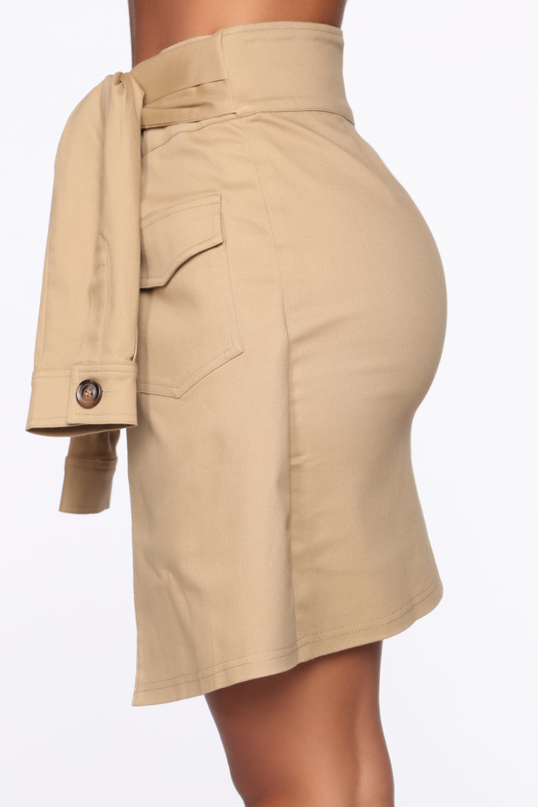 Tamera Tie Waist Mini Skirt - Tan