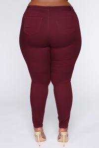 Perfect Butt Skinny Jean - Burgundy Angle 6