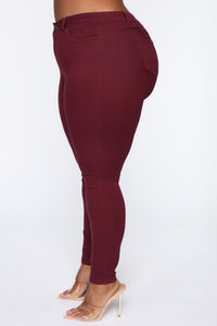 Perfect Butt Skinny Jean - Burgundy Angle 4