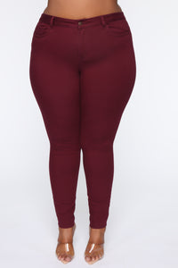 Perfect Butt Skinny Jean - Burgundy Angle 2