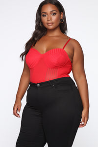 Caught On You Mesh Bodysuit - Red
