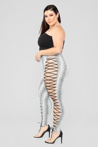 Snake Charmer Lace Up Pants - Grey