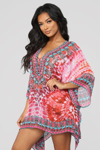 Ticket To Paradise Coverup Tunic - Red/Combo