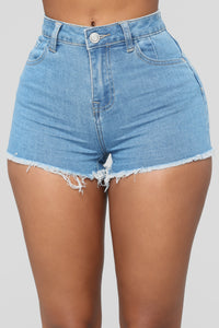 A Fray A Day Denim Shorts - Light Blue Wash Angle 1