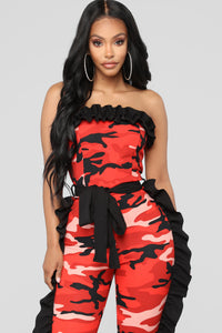 Catalina Camo Jumpsuit - Orange