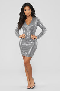 Shining Star Sequin Dress - Silver