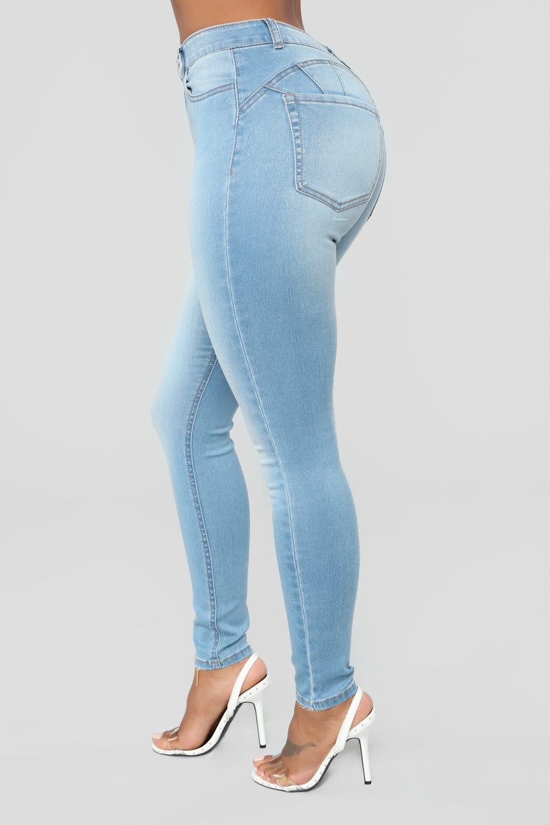 Alexa High Rise Skinny Jeans - Light Blue Wash