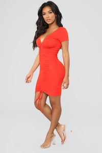 Forbidden City Ruched Dress - Red