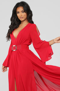 Magnum Belted Maxi Dress - Red